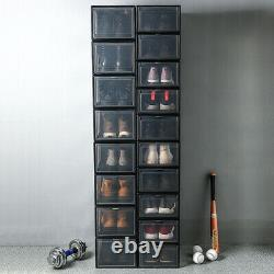 10X Magnetic Sneaker Storage Box Front Open Clear Plastic Shoe Display Container