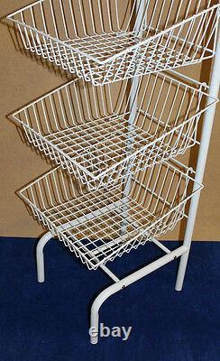 3 Level White Stacking Baskets Dump Bin Display Retail Home Shop Storage New Veg
