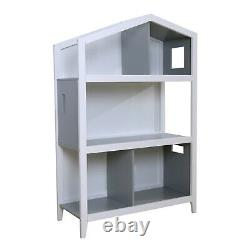 3-Shelf Wood Bookcase White & Grey Bookshelf Storage Display Bookshelf Cabinet