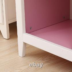 3-Shelf Wooden Bookshelf CD Media Storage Display Bookcase White Grey / Pink