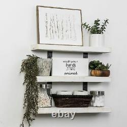 3-Shelves Floating Wall Shelf Display Storage Wood Rustic Shabby Chic Farmhouse