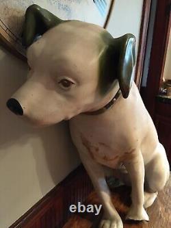 34 Original Antique Paper Mache Rca Victor Nipper Dog Store Display Green Ears