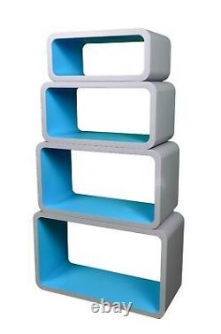 4 Piece Retro Floating Shelves Cube Bookcase Display Shelf Storage NEW COLOR UK