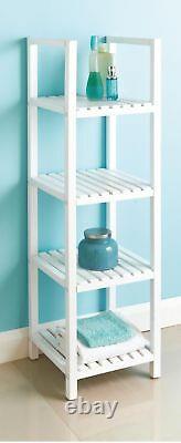 4 Tier Bathroom Storage Shelves Display Shelving Rack Caddy Organiser Unit White