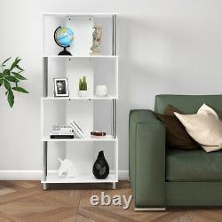 4-Tier Bookcase Modern Display Shelf Organizer Snaking Storage Rack White