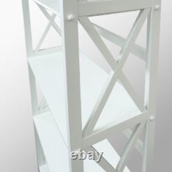 5 Shelf Bookcase Bookshelf Tall Wide Display Storage Shelving Solid Wood White