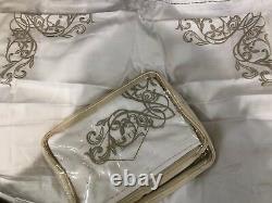 $550 Frette Italy New 2pc Euro Shams Granada Natural Store Display Embroidery