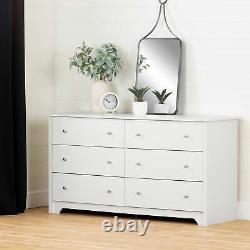 6-Drawer Double Dresser Modern Bedroom Clothes Organizer Display Storage White