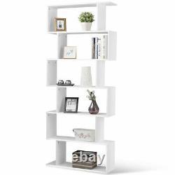 6 Tier S-Shaped Bookcase Modern Storage Display Z-Shelf Style Bookshelf White