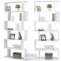 6 Tier S-Shaped Bookcase Z-Shelf Style Storage Display Modern Bookshelf Wooden