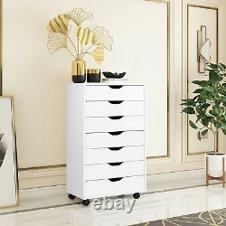 7 Drawer Dresser Chest Floor Storage Cabinet Display Organizer Home Wheels White