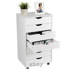 7 Drawer Dresser Chest Mobile Storage Cabinet Display Organizer on Wheels White