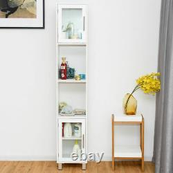 71 Tall Tower Bathroom Storage Cabinet Organizer Display Shelves Bedroom White