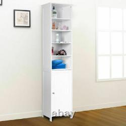 72''H Bathroom Tall Floor Storage Cabinet Free Standing Shelving Display White