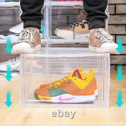 8x Magnetic Drop Side/Front Stackable Shoe Box Storage Sneaker Display Container