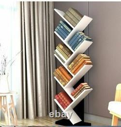 9 Shelf Tree Bookshelf Floor Standing Bookcase Wood Display Storage Holder Rack
