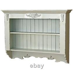 Antique Style Scroll White Wood Storage Furniture Display Wall Hooks Shelves