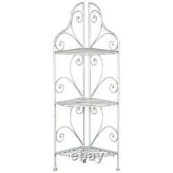 Antique White Metal Furniture Storage Home Shop Display 3 Shelves Corner Stand