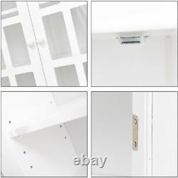 Bathroom Wall Cabinet 2 Doors Shelves Large Storage Vintage Glass Display Decor
