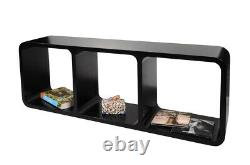 Black Retro Open Back Shelf Unit 3 Shelves Bookcase Display Storage