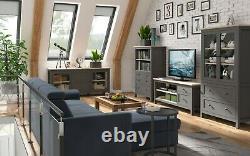 Bocage Collection BRW Furniture Set LED lights Display Unit TV Storage Grey Wood
