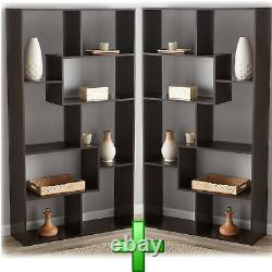 Bookcase Cabinet 2 Pc Bookshelf Storage Organizer Shelves Wooden Tall Display