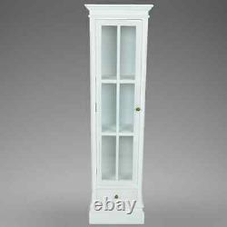 Bookcase Cabinet Display Storage Glass Door Drawer Furniture Living Room WHITE