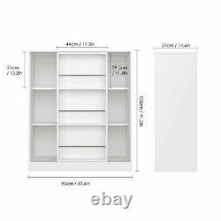 Bookshelf Rack Bookcase Shelving Storage Display Book Shelves Sliding Door