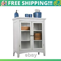 Cabinet Shelves Display Bookcase Double Glass Door Floor Cabinets Storage Shelf