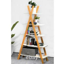 Cerbior A-Frame 66in Bookshelf Display Shelves Bookcase Storage 5-Tier Furniture