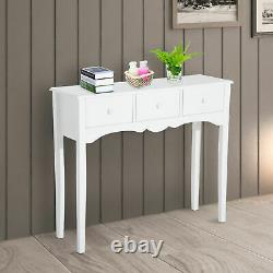 Classic Wooden Console Table Display Stand Storage Drawers Hallway Narrow White