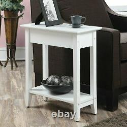 Contemporary Flip Top End Table Lamp Vase Display Stand Concealed Storage White