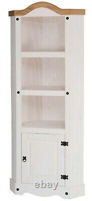 Corona White Corner Display Unit 1 Door Bookcase Mexican Solid Pine Storage