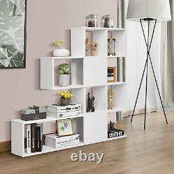 Costway 5-Tier Bookshelf Corner Ladder Bookcase Display Storage Rack White