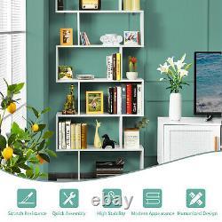 Costway 6 Tier S-Shaped Bookshelf Storage Display Bookcase Decor Z-Shelf White