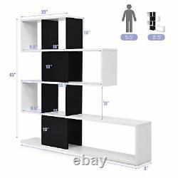 Costway Bookshelf Corner Ladder Bookcase 5-Tier Display Storage Rack Black White