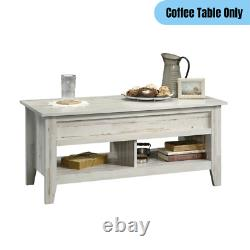 Country Farmhouse Lift-Top Coffee Table Display Storage Desk Distressed White