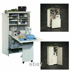 Craft Armoire Crafting Table With Storage Desk Organizer White Sewing Workstatio