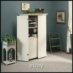 Craft Armoire Crafting Table with Storage Desk Organizer White Sewing Workstation