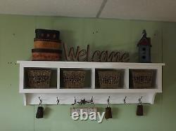 Cubby Coat Rack Wall Shelf Basket Display Rack 4 Cubbies Wall Storage