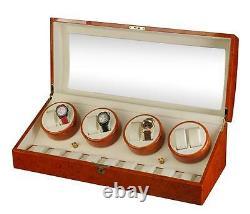 Diplomat Estate Burlwood Eight 8 Watch Winder Wood Display Storage Case Box NEW