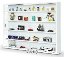 Display Cabinet Modern Storage Shelves Wall Glass White Box Collectibles Case