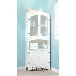 Display Shelf Cabinet White Freestanding Linen Towel Storage 63 Tall