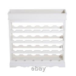 Elegant Wine Rack Wooden Storage Display 4 Shelves 24 Bottle Holder Counter Top