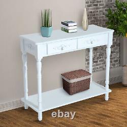 Elegant Wooden Console Table Storage Drawers Bottom Shelf Tabletop Decor Display