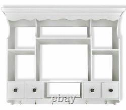 Elegant Wooden Kitchen Wall Cabinet White Cupboard Storage Shelf Display Unit