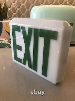 Exit Sign Light Vintage Antique Art Deco Globe White Glass Display Store Mount
