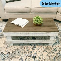 Farmhouse Coffee Table Solid Reclaimed Wood Display Storage Rustic Brown/White
