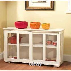 Glass Door Cabinet White Display Case Cupboard Sliding Doors Kitchen Storage