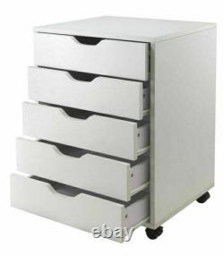 Halifax Storage/Organization 5 Drawer White Accent Furniture Cabinet Display New